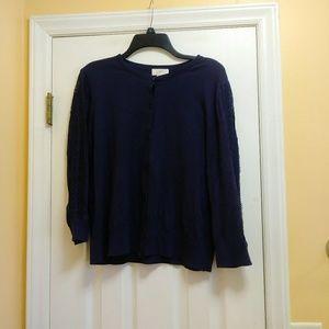 LOFT Women's Cardigan Size Large Blue Button Front